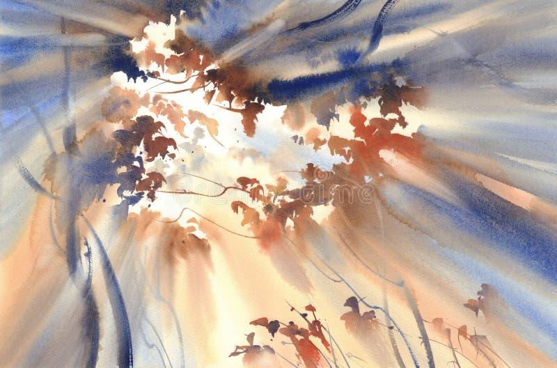 在森林水彩风景的太阳 皇族释放例证
