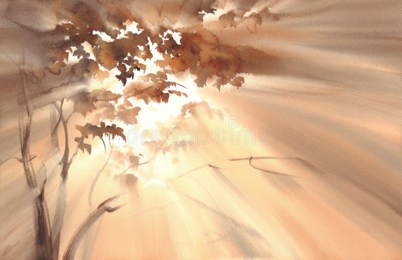 在森林水彩风景的秋天光 向量例证