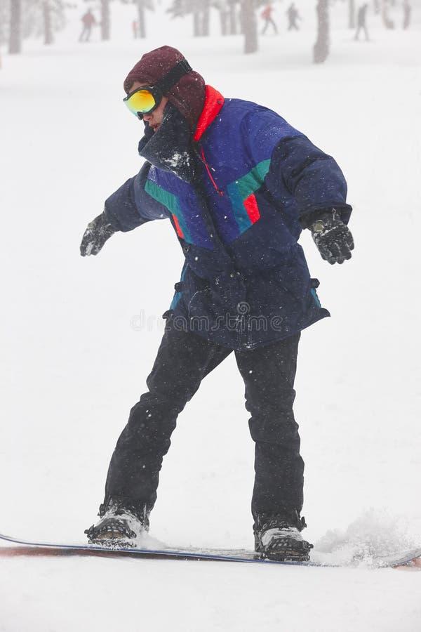 在森林滑雪倾斜的雪板运动 白色冬天山landsc 免版税库存照片