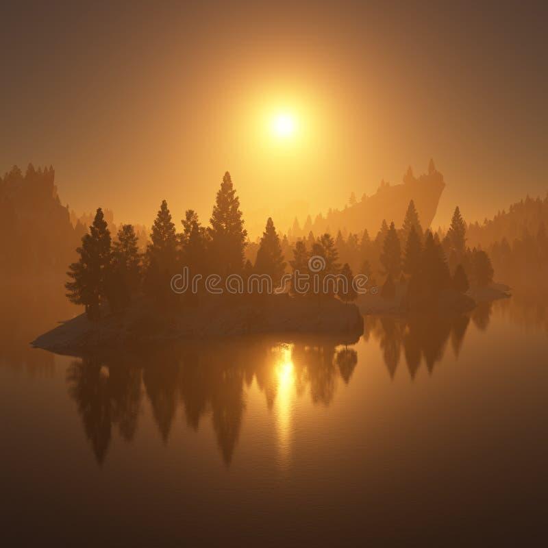 在森林的日落 向量例证