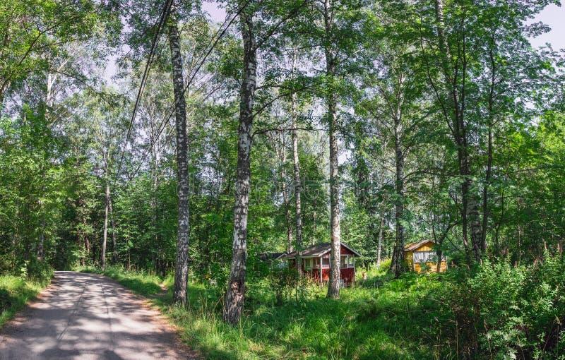 在森林的木客舱,赫尔辛基的郊区 免版税库存图片