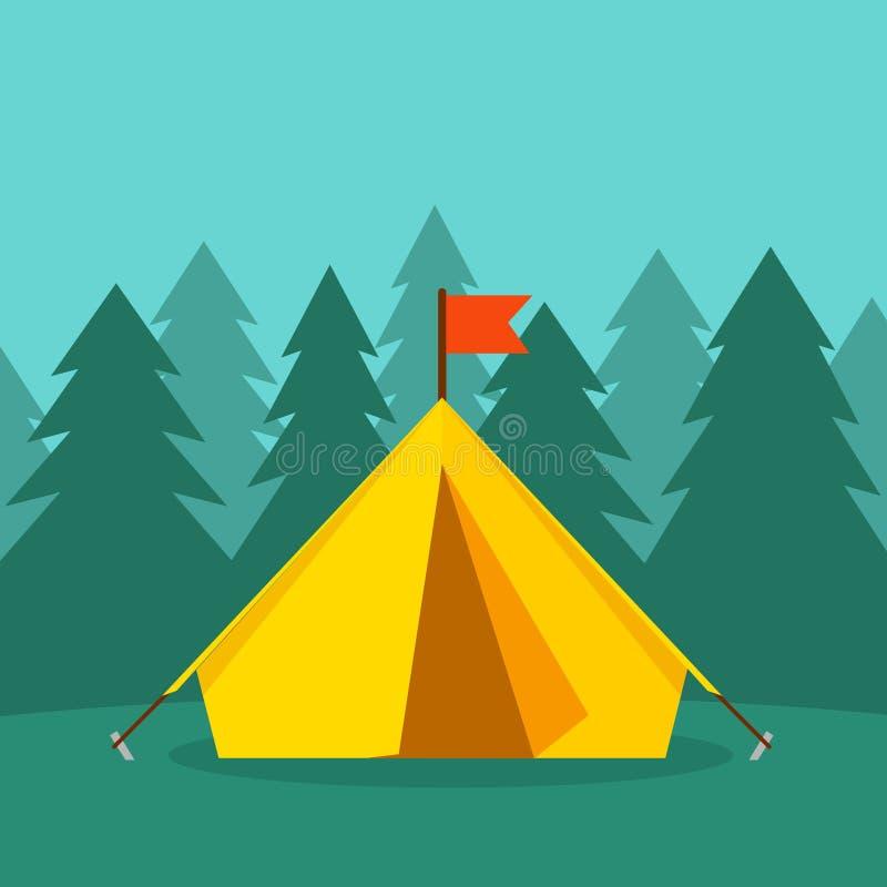 在森林的野营的旅游帐篷使传染媒介例证环境美化 向量例证