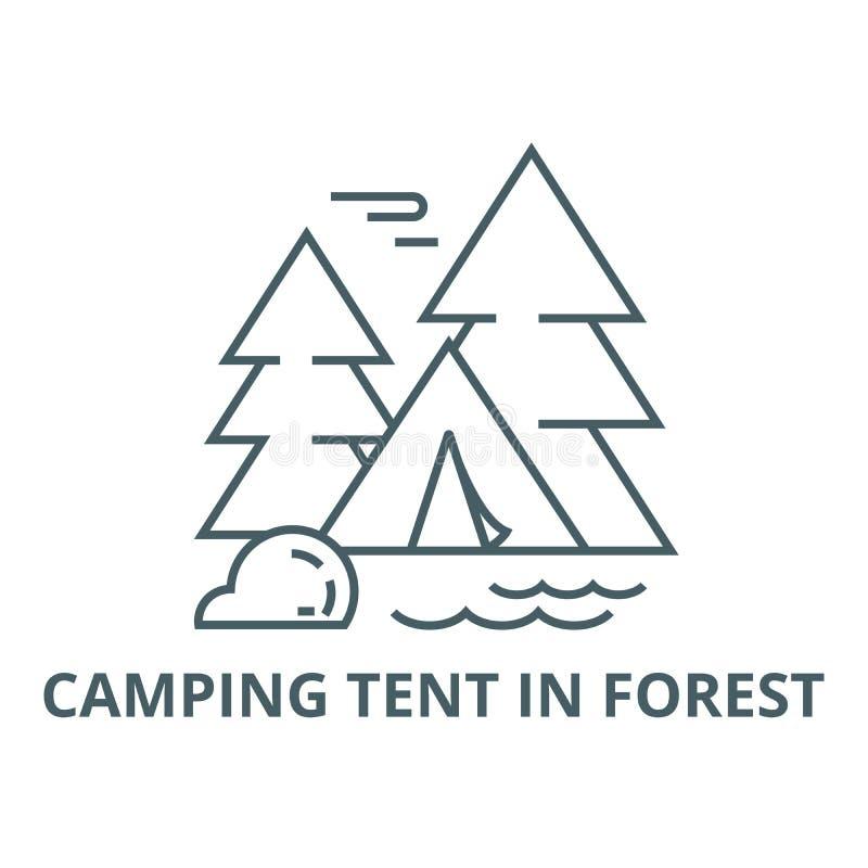 在森林线象,传染媒介的野营的帐篷 在森林概述标志,概念标志,平的例证的野营的帐篷 库存例证