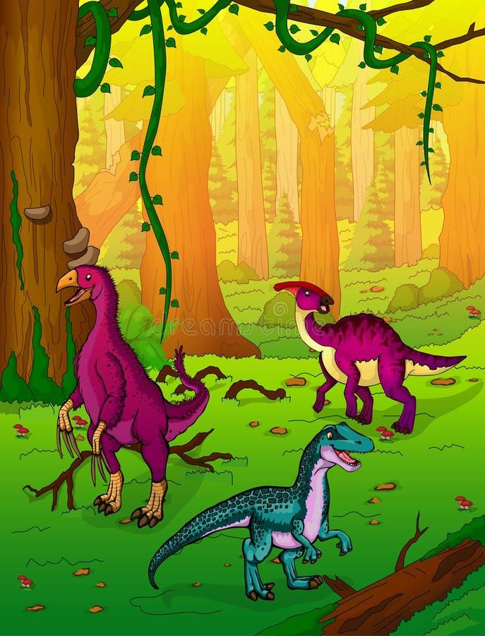 在森林背景的恐龙  皇族释放例证