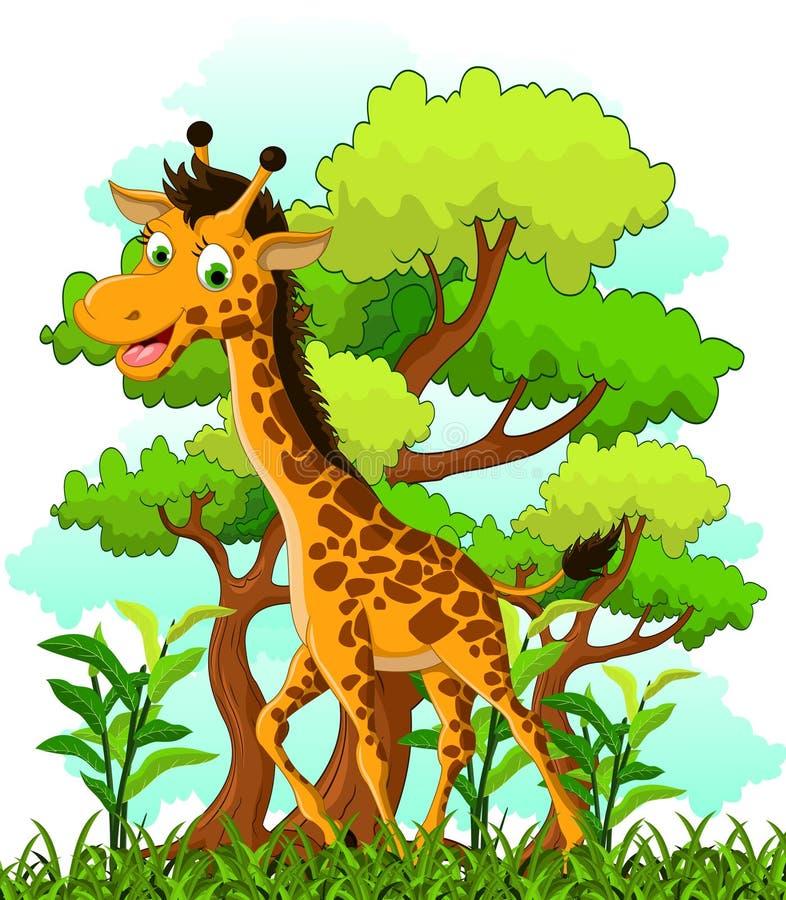 在森林背景的长颈鹿动画片 向量例证