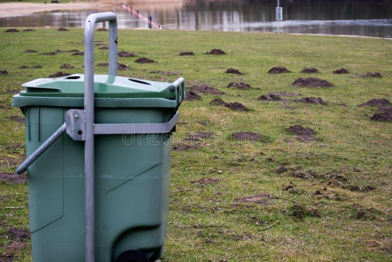 在森林草水自然对象的绿色垃圾桶垃圾 库存照片