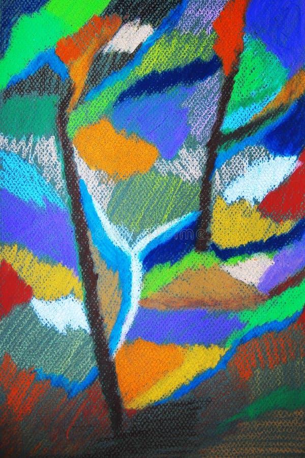 在森林里。抽象柔和的淡色彩五颜六色的图画。 库存例证