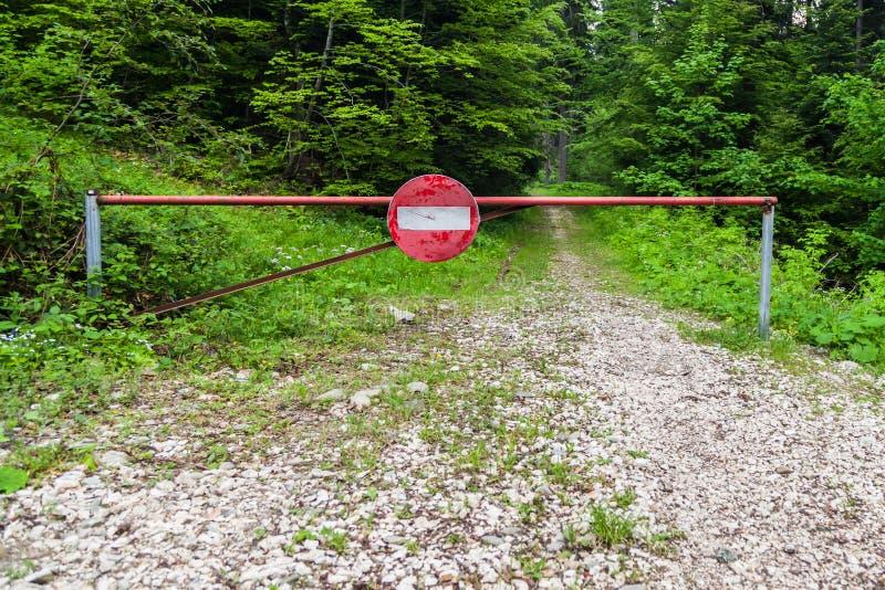 在森林里阻拦词条的路标 库存照片