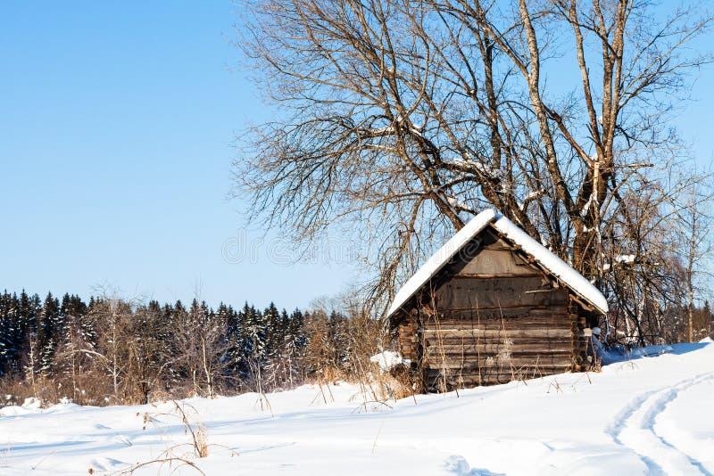 在森林附近的老被放弃的木小屋在冬天 免版税图库摄影