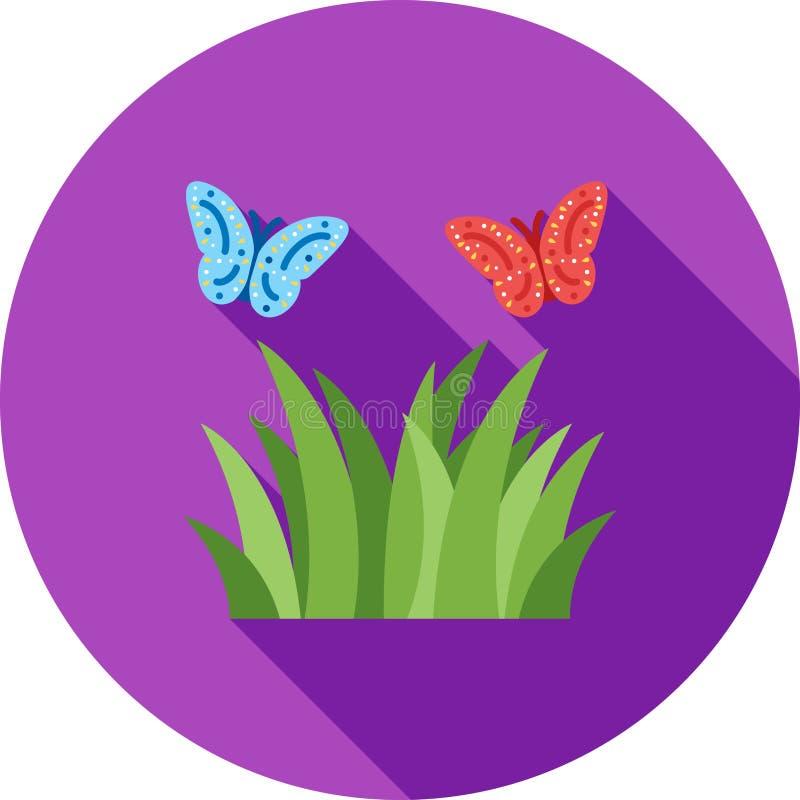 在植物的蝴蝶 库存例证