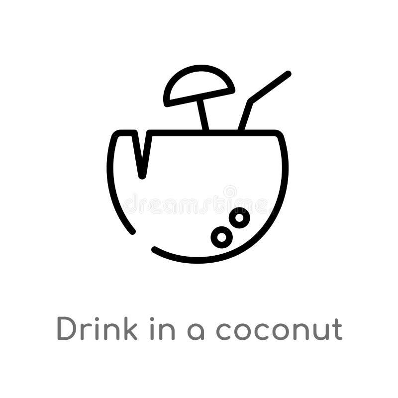 在椰子传染媒介象的概述饮料 被隔绝的黑简单的从食物概念的线元例证 编辑可能的传染媒介冲程 皇族释放例证