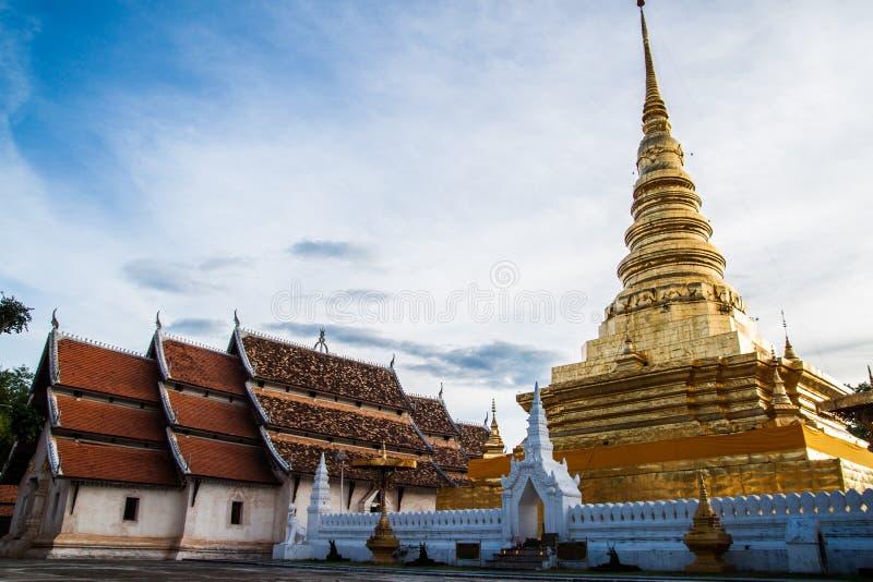 在楠府,泰国的Prathat Chahang寺庙 库存图片