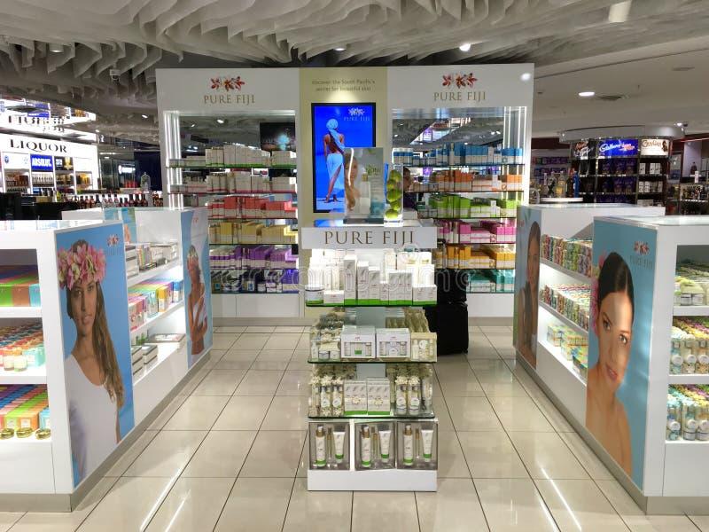 在楠迪国际机场的纯净的斐济柜台 免版税库存照片