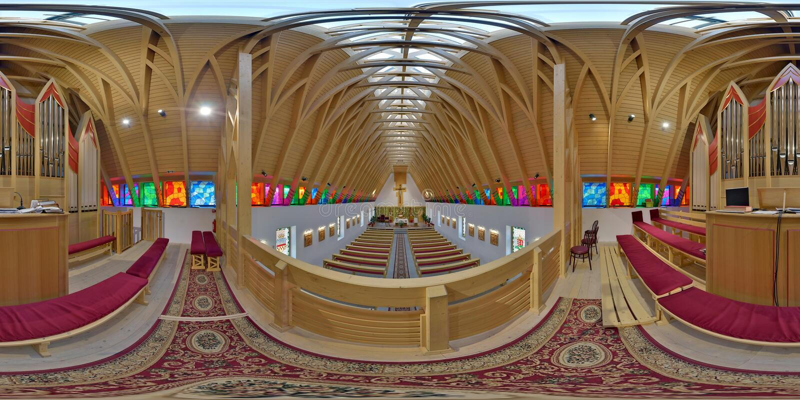 在楼上在圣若瑟天主教, Zetevà ¡ ralja (次级Cetate),罗马尼亚 库存图片