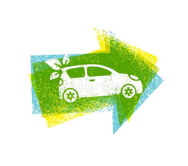 在概略的背景的Eco汽车推进绿色传染媒介自然友好的概念 向量例证