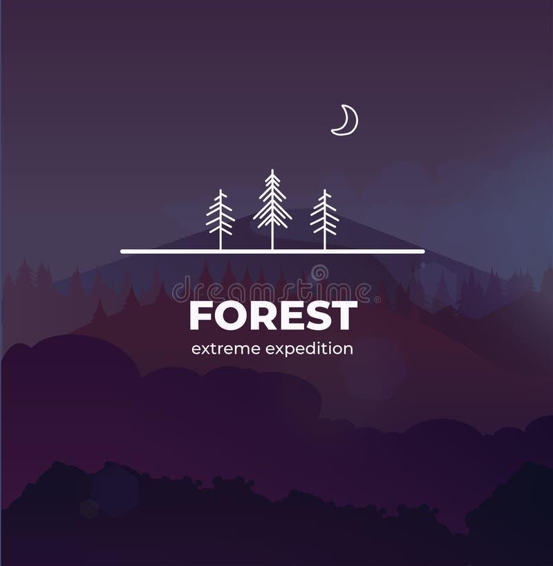 在概述样式的时髦森林商标徽章 在与森林和山的背景传染媒介风景,您能改变 皇族释放例证