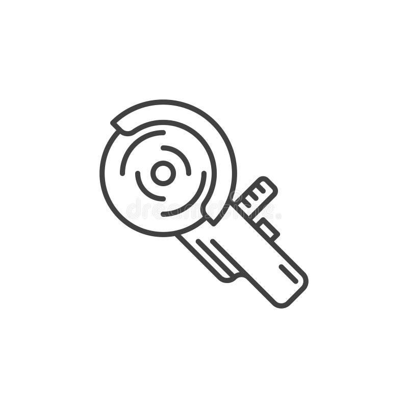 在概述样式的角度研磨机传染媒介概念最小的象 库存例证