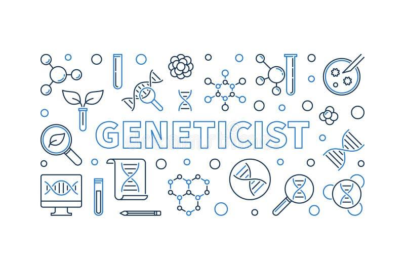 在概述样式的遗传学家例证 传染媒介线性横幅 库存例证