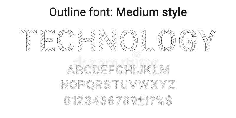 在概述样式的黑手工制造字体 皇族释放例证