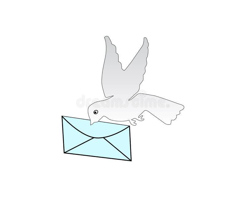 在概述样式被隔绝的传染媒介例证的鸠运载的信封象 皇族释放例证