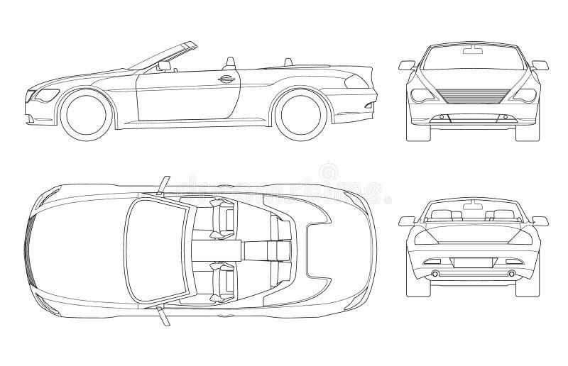 在概述的敞蓬车汽车 Cabrio小轿车车在白色隔绝的模板传染媒介 观看前面,后方,旁边,上面 碱性 皇族释放例证