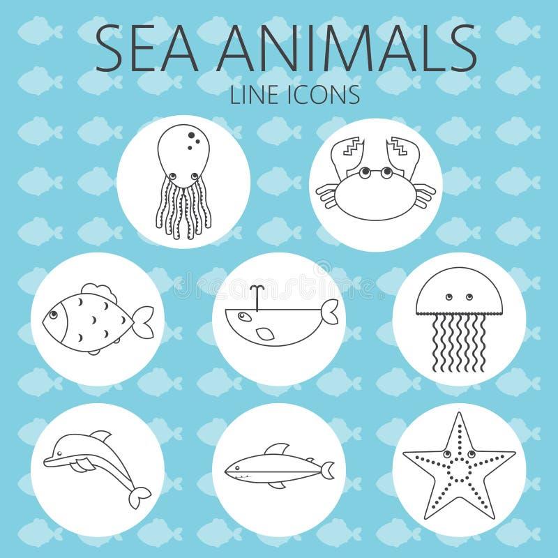 在概述设置的黑海动物 向量例证