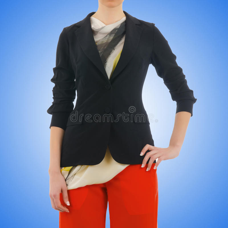 在模型的时髦的夹克 免版税库存图片