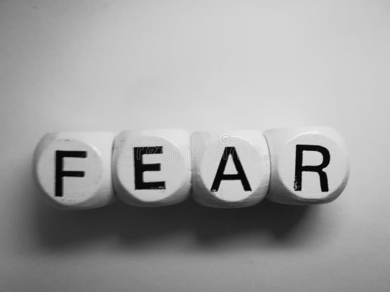 在模子拼写的词恐惧 免版税库存图片