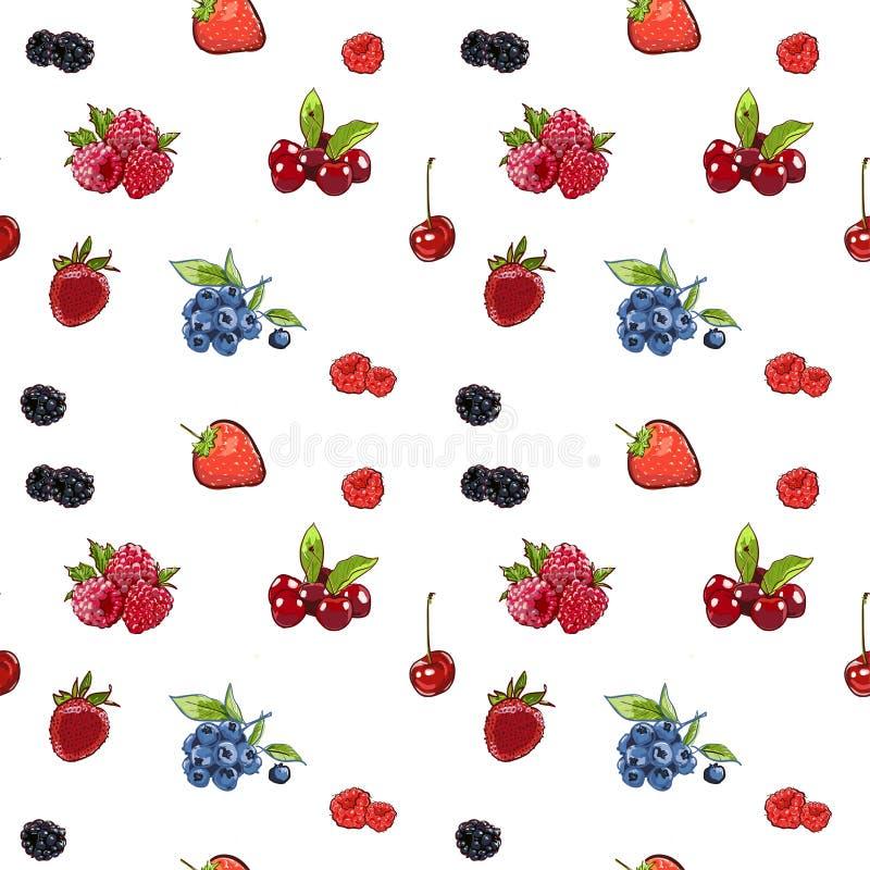 在横幅的标志手drawnseamless样式莓果 速写的标志食物传染媒介 五颜六色的莓,草莓,樱桃蓝莓 皇族释放例证