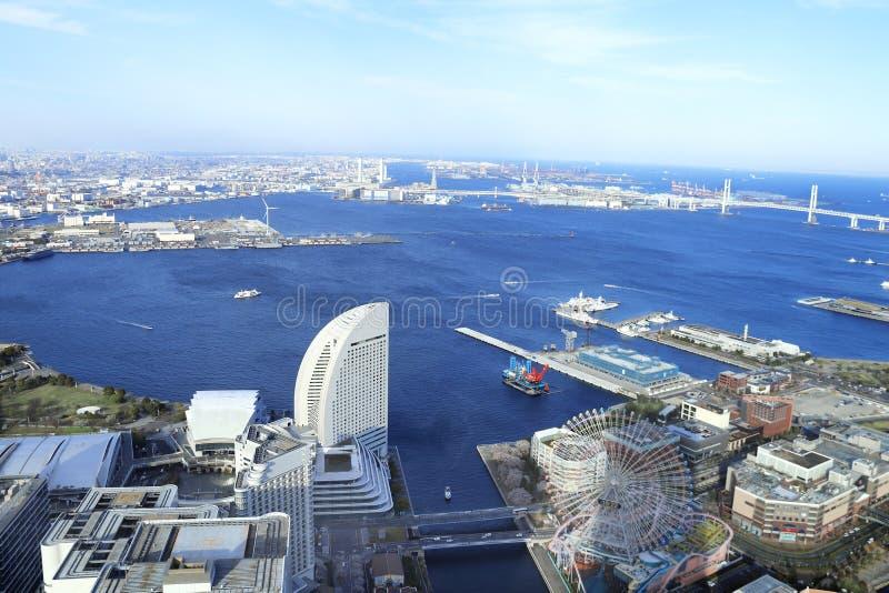 在横滨和东京湾,日本的鸟瞰图 免版税图库摄影
