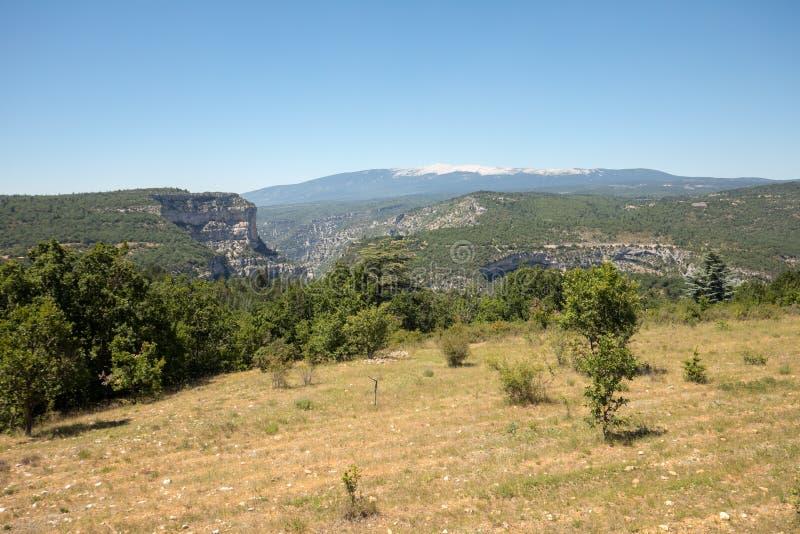 在横谷在普罗旺斯和Mont Ventoux的部门的风景在背景中 库存图片