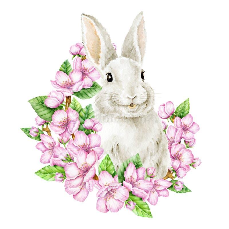 在樱花的复活节兔子 额嘴装饰飞行例证图象其纸部分燕子水彩 向量例证