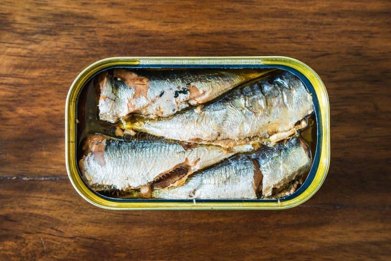 在橄榄油的罐装沙丁鱼 图库摄影