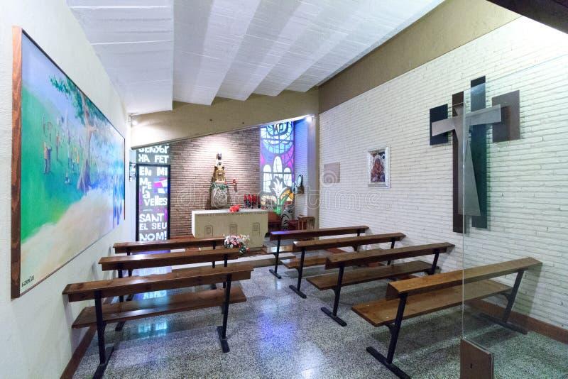 在橄榄球场阵营Nou里面的教堂在巴塞罗那 免版税库存图片