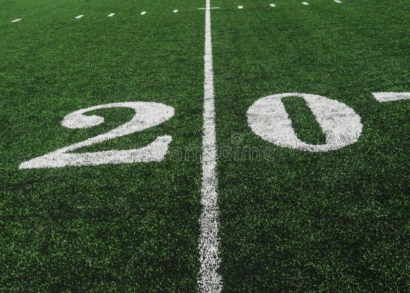 20在橄榄球领域,拷贝空间的调车场界线 免版税库存照片
