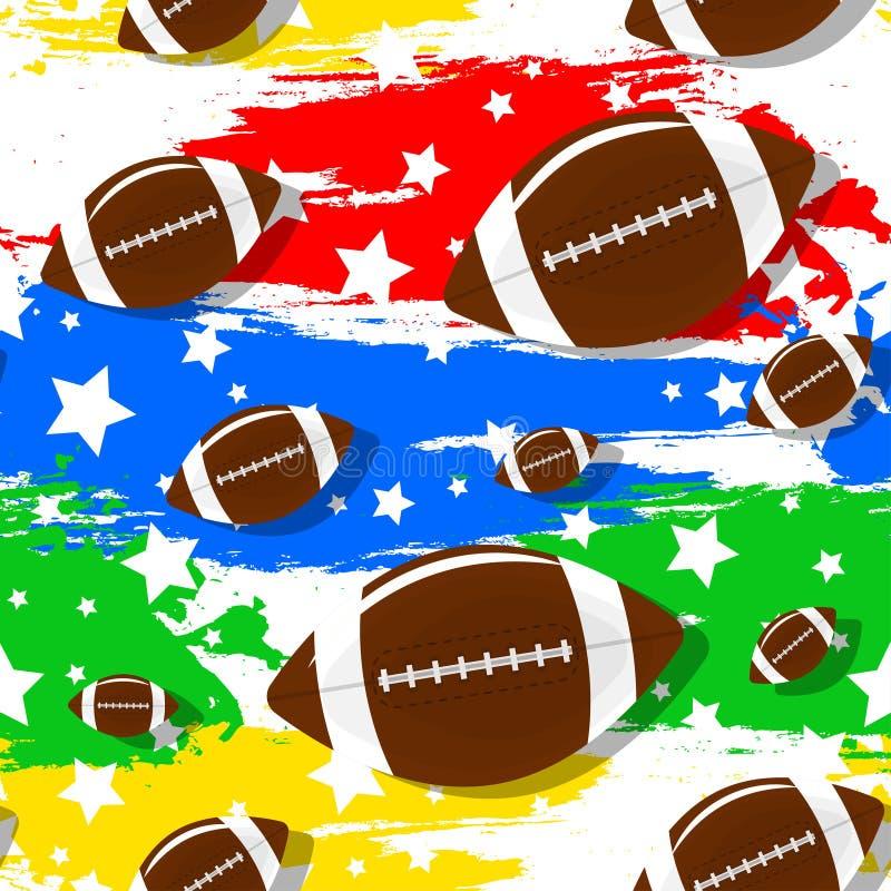 在橄榄球题材的无缝的样式 图库摄影