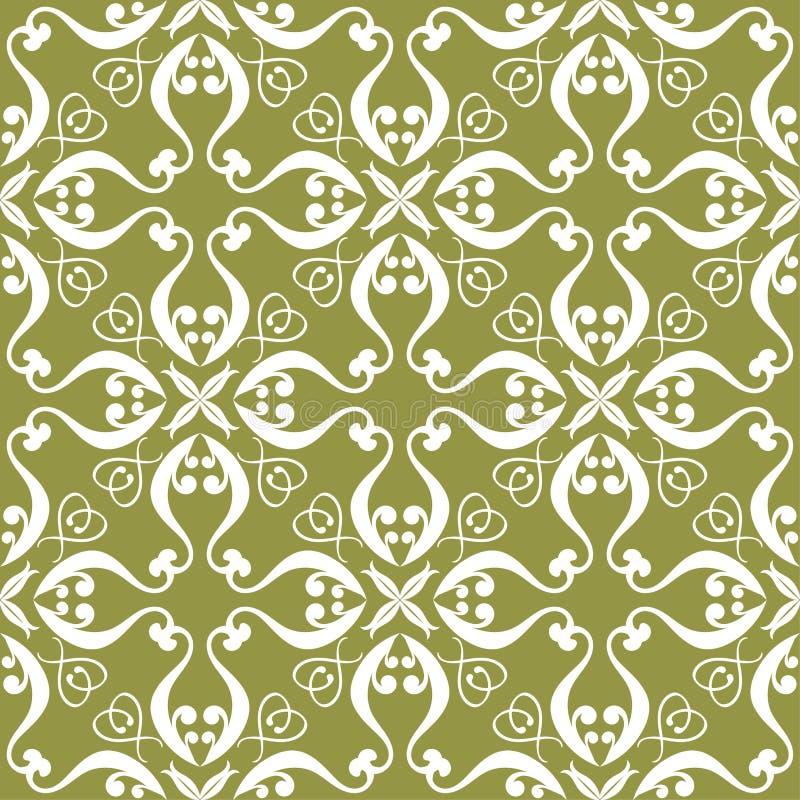 在橄榄绿背景的白花 无缝的模式 向量例证