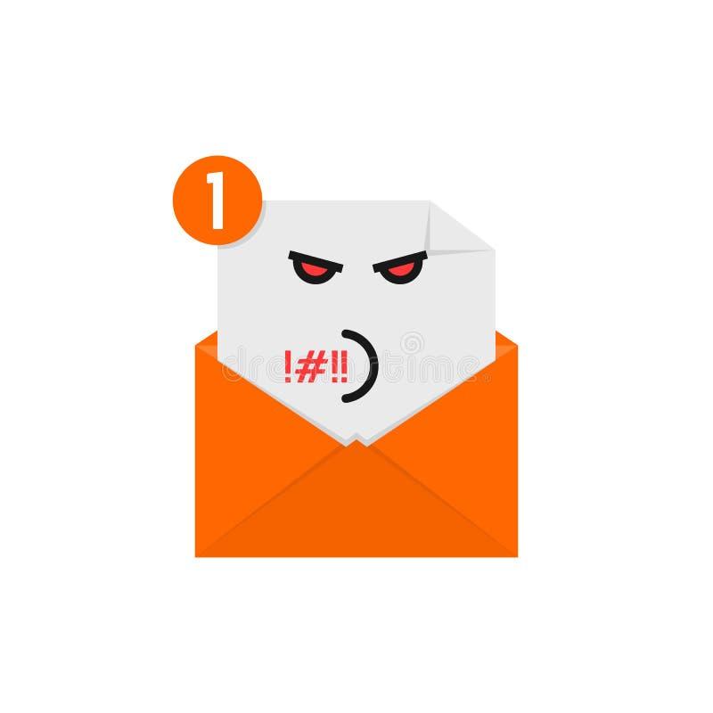 在橙色信件通知的粗鲁的emoji 皇族释放例证