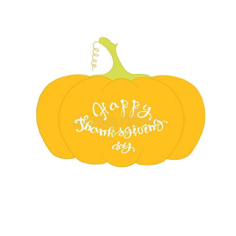 在橙色南瓜设计元素的印刷术横幅愉快的感恩节白色字法 皇族释放例证