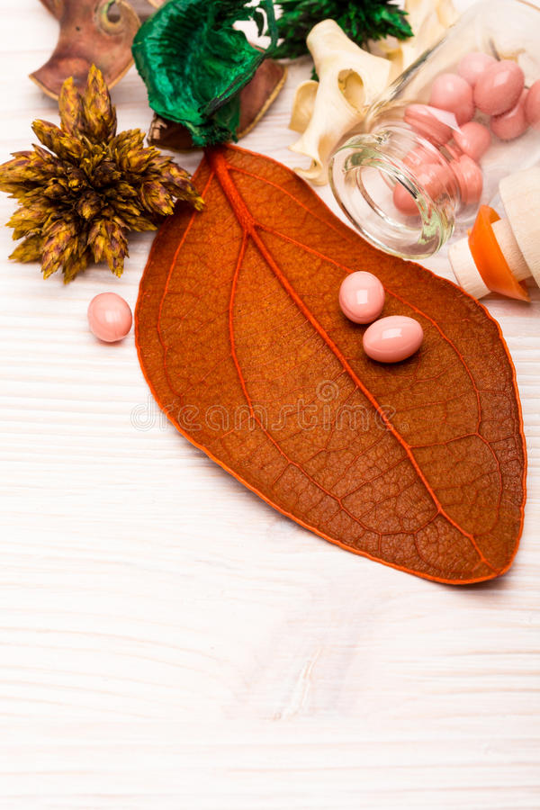 在橙色叶子的桃红色球形状药片 图库摄影