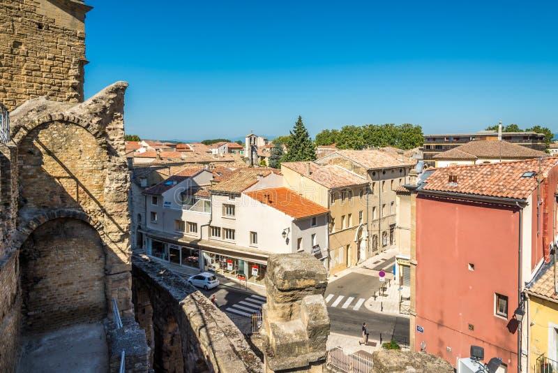 在橙色城市的看法从罗马剧院 库存照片