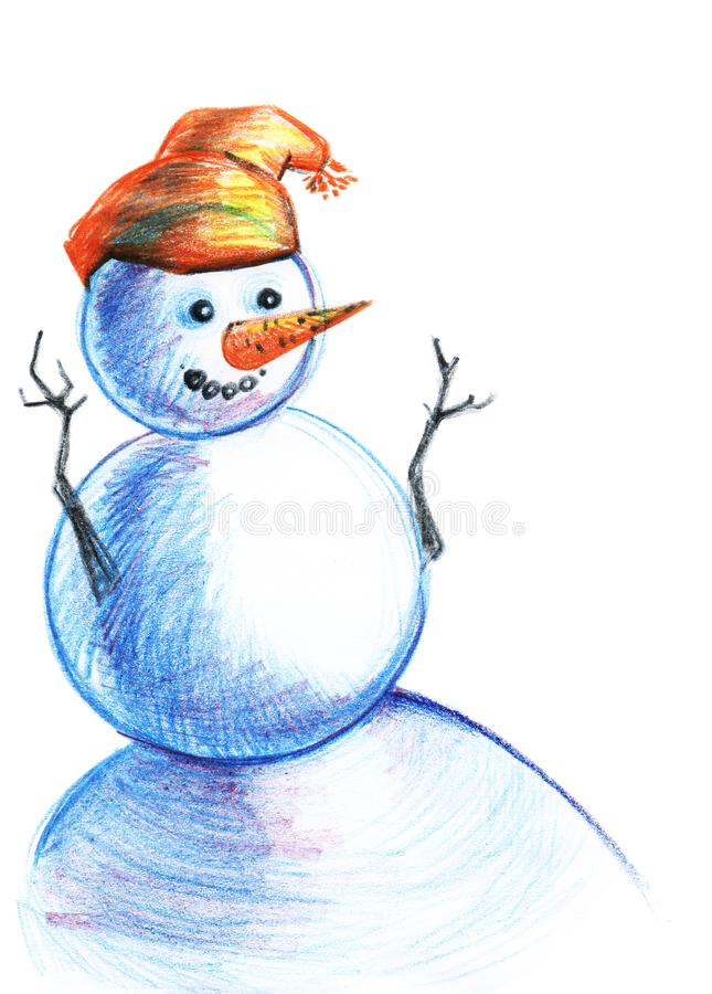 在橙色帽子和红萝卜鼻子的滑稽的蓝色雪人 与色的铅笔的手拉的例证 向量例证