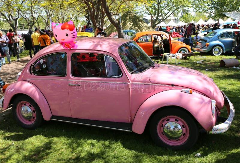 在橙色开花狂欢节的桃红色老大众甲壳虫汽车 库存照片