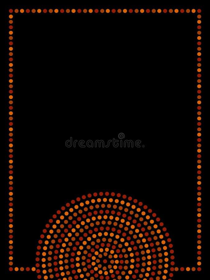 在橙色棕色的澳大利亚原史几何艺术同心圆框架和黑,传染媒介 向量例证
