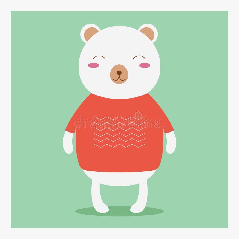 在橙色毛线衣的传染媒介传染媒介逗人喜爱的愉快的平的野生动物熊有白色样式的 图库摄影