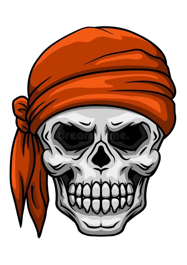 在橙色班丹纳花绸的头骨 向量例证