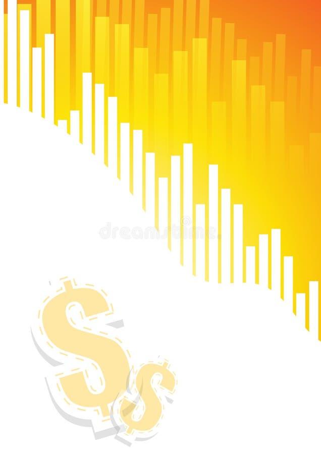在橙色白色背景的长条图与美元的符号 向量例证