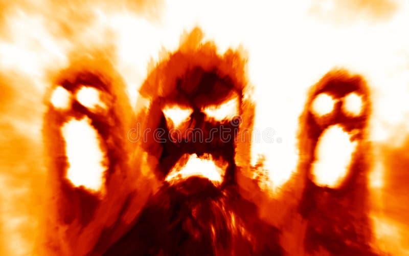 在橙色背景的可怕地狱似妖怪阴影 库存例证