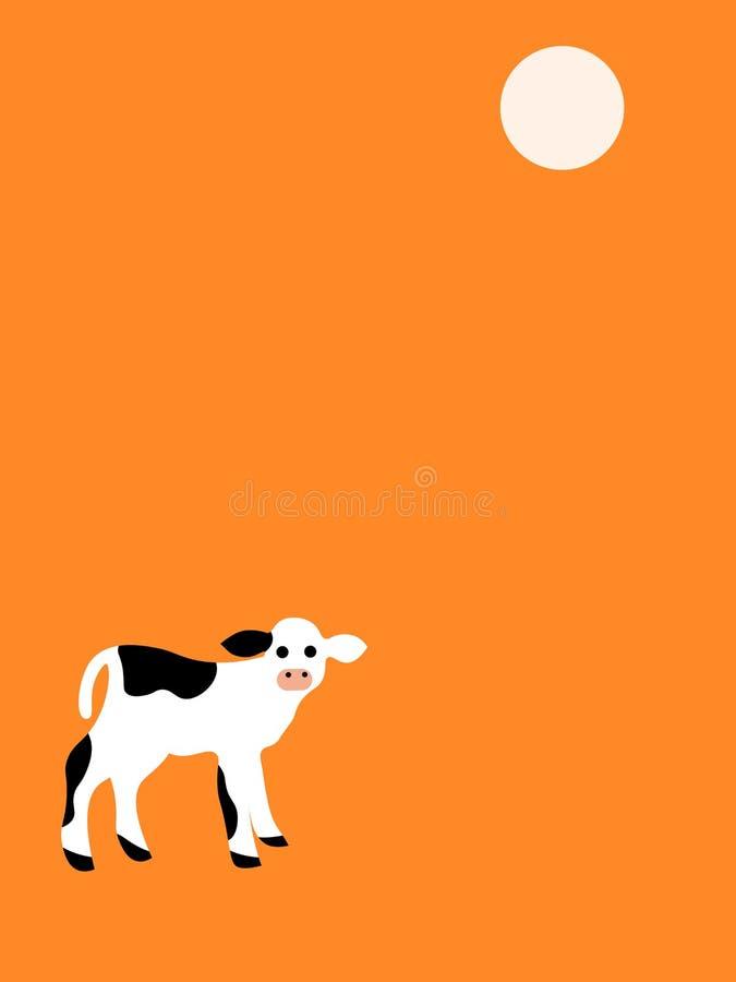 在橙色背景的小牛 向量例证