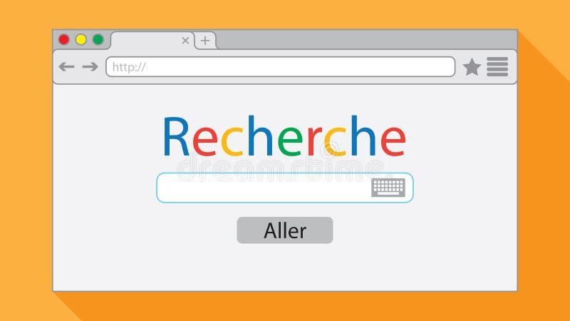 在橙色背景的平的样式浏览器视窗 向量例证